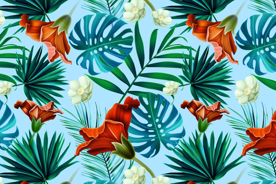 Tropical pattern. Jungle flowers by mystel on Creative