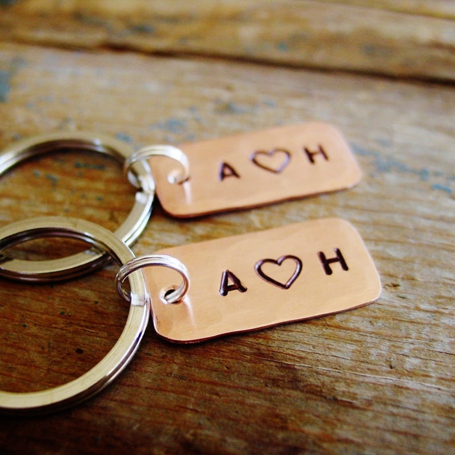 Couple initials keychain set of 2 personalized copper