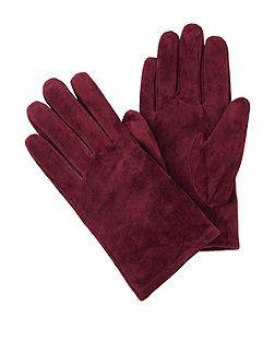 Dark Red Suede Gloves | New Look