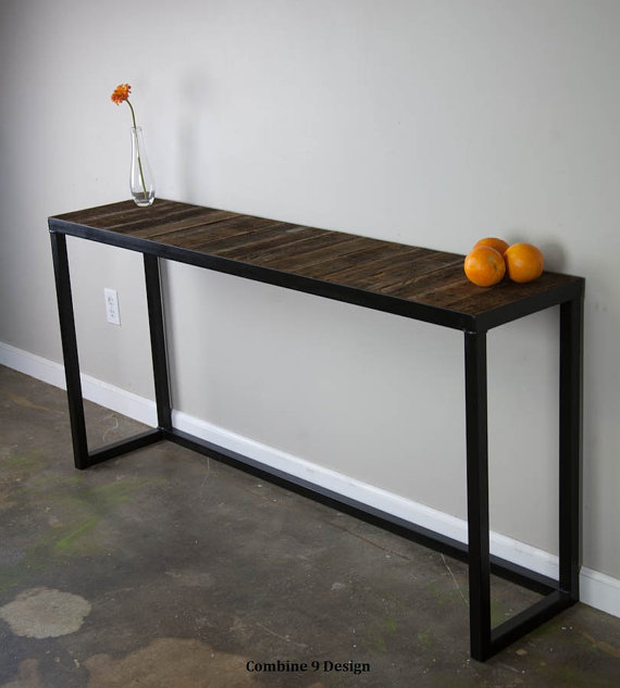 sofa table with reclaimed wood modern vintage console table urban industrial style loft decor. Black Bedroom Furniture Sets. Home Design Ideas