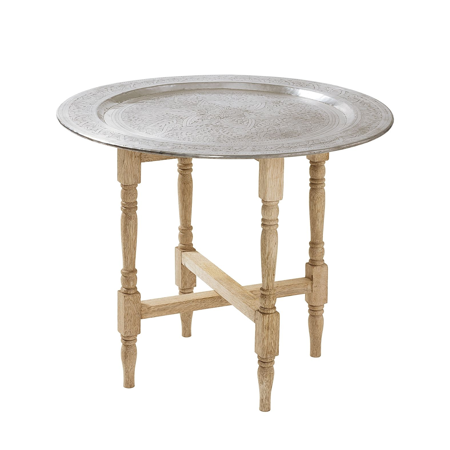 Hammered Metal Tray Table Easy to replicate w plant stand base