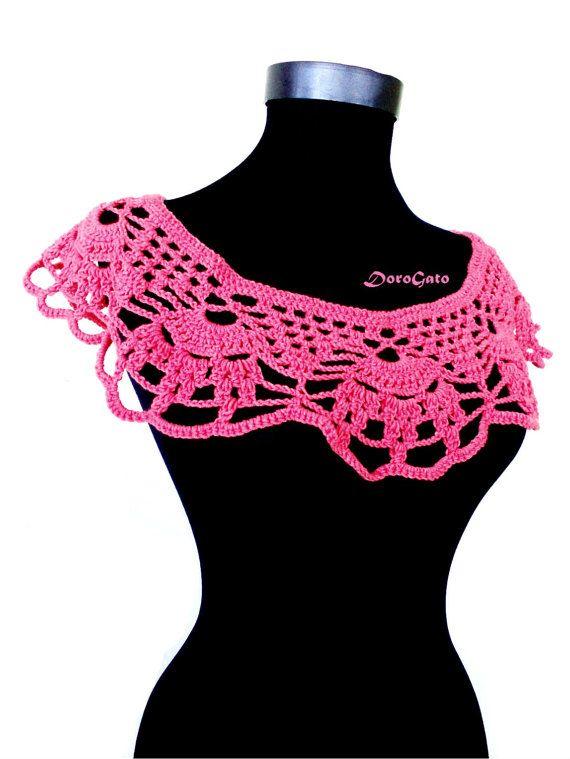 Crochet collar pattern, Detachable crochet collar Pattern, Lace collar necklace…