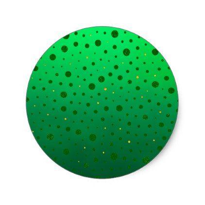 Elegant dots green gold st patricks day classic round sticker st patricks