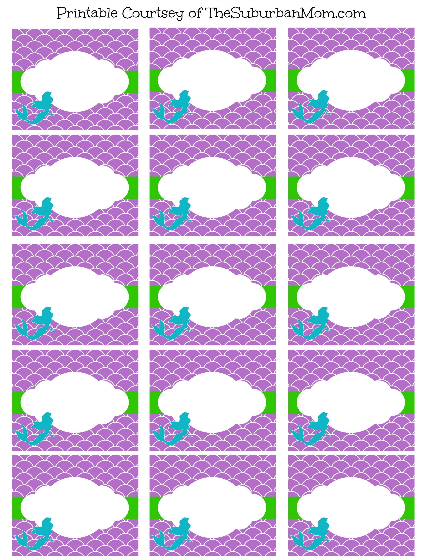 Little Mermaid Party Food Labels Free Printables Pinteres