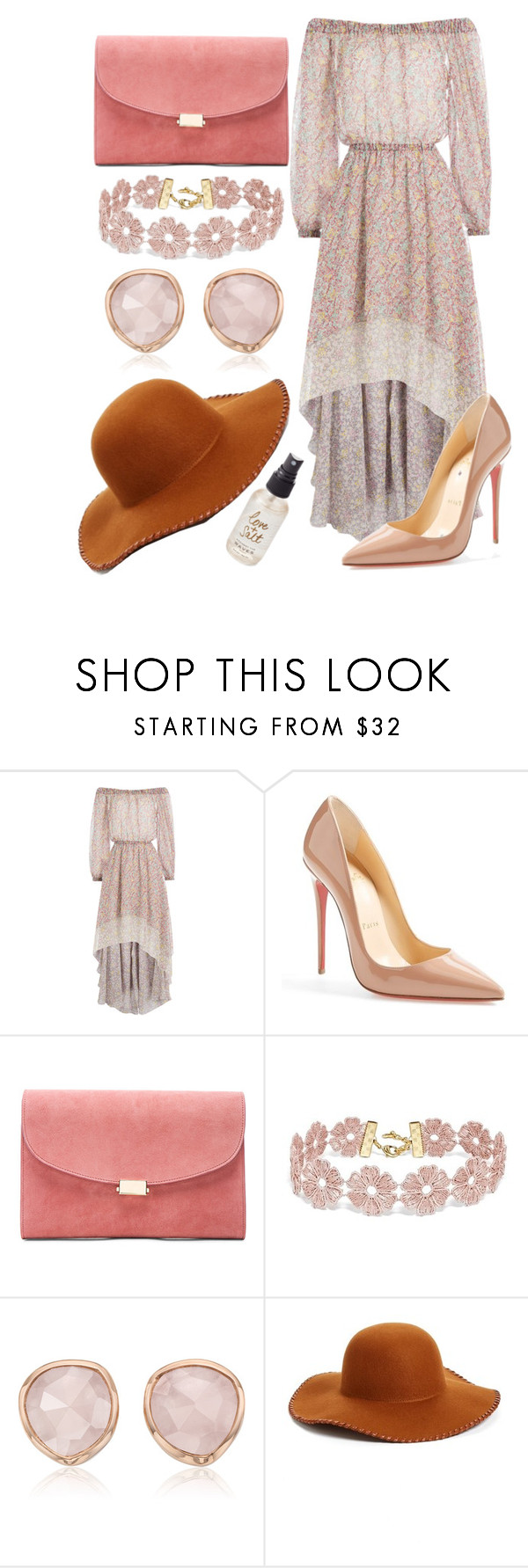 """""""Beachy+Floral"""" by hannahgrinton on Polyvore featuring Philosophy di Lorenzo Serafini, Christian Louboutin, Mansur Gavriel, BaubleBar, Monica Vinader, Phase 3 and Olivine"""