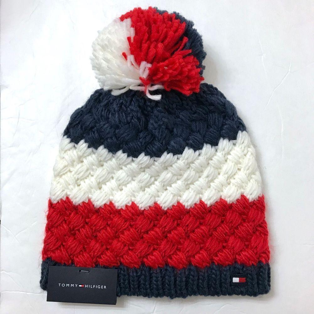 88524b67100 new TOMMY HILFIGER POM BEANIE afghan crochet knit red white navy blue winter  hat  TommyHilfiger  Beanie