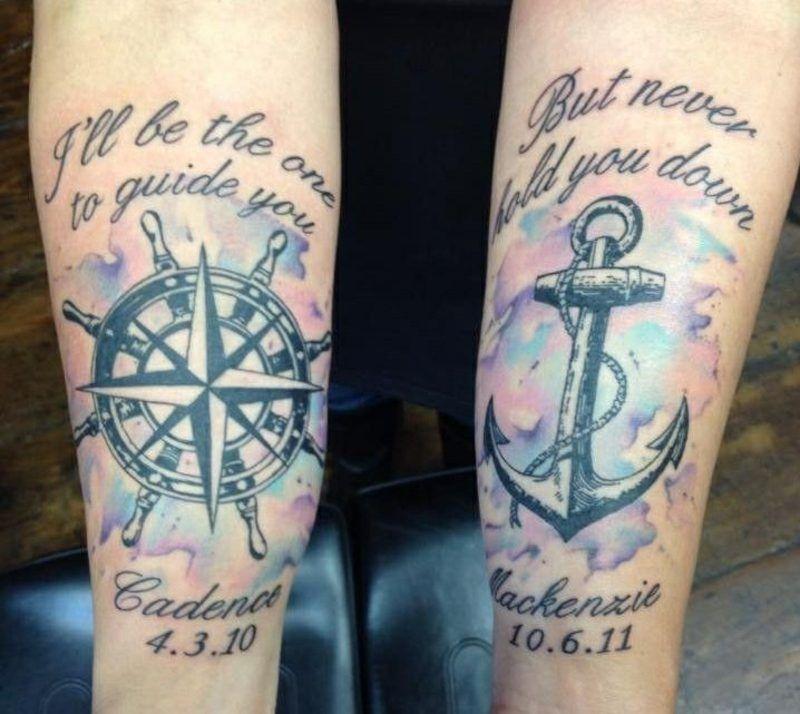 Tattoo Spruch Familie Kompass Anker | Sprüche | Tattoo designs