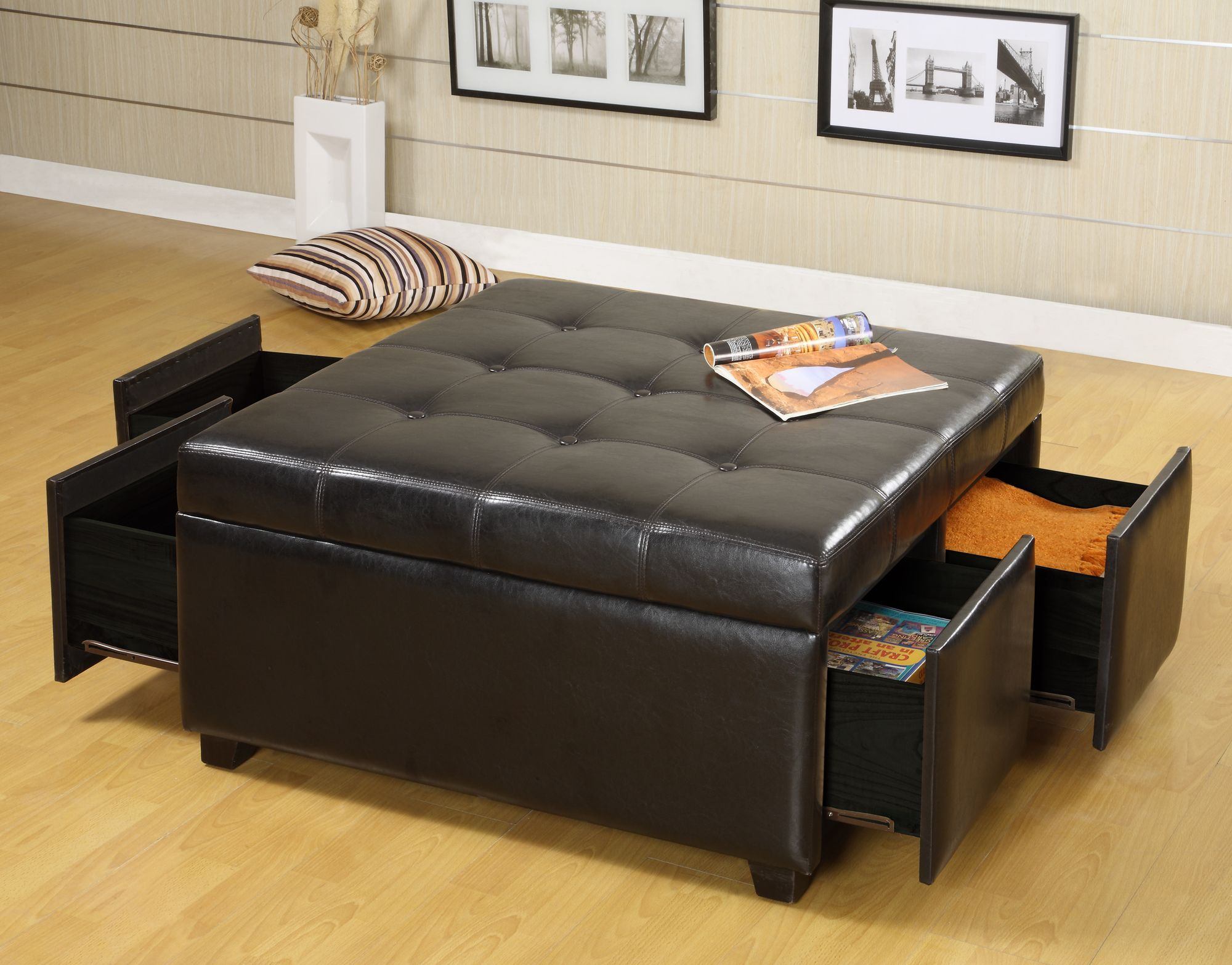 Hokku Designs Petula Bi Cast Leather Storage Ottoman With Four Drawers In Espresso 349 00