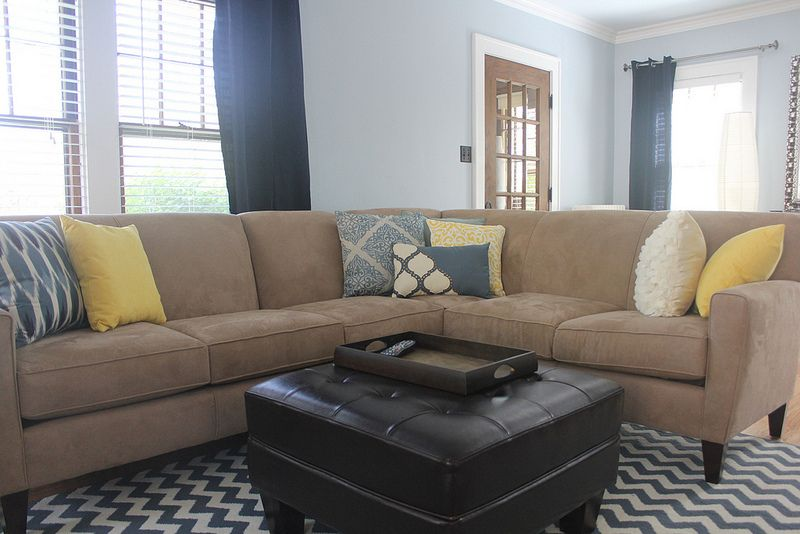 Mix and match throw pillows including pier 1 yellow - Living room curtains with matching pillows ...