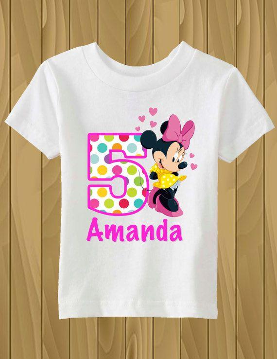 Camiseta de cumpleaños personalizado de Minnie Mouse  576a8e9230a00