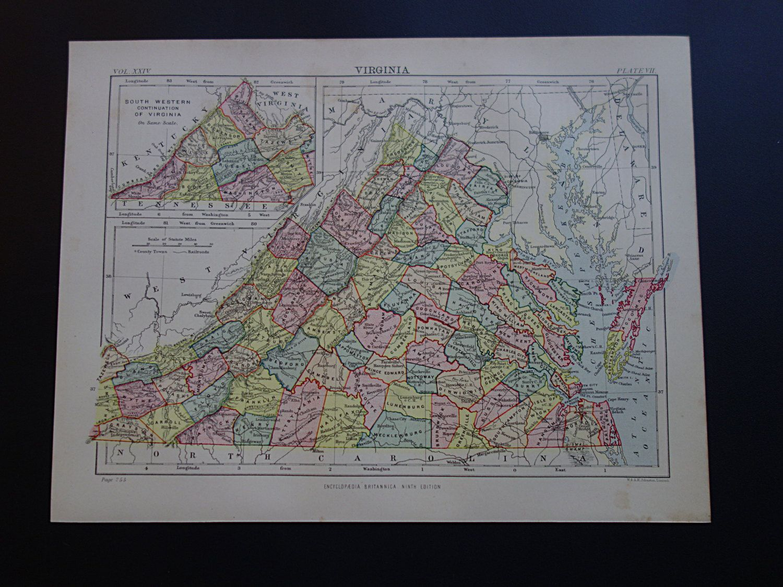 VIRGINIA Antique Map Original Old English Print Poster - 8x11 us state map