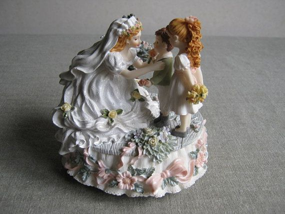 Vintage Highly Detailed  Bride with Children Music Box by PastDays, $20.00