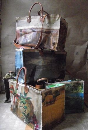 very cool...tote bags made from vintage oil paintings.