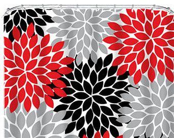 shower curtain monogram custom you choose colors red black gray flower burst dahlia pattern. Black Bedroom Furniture Sets. Home Design Ideas