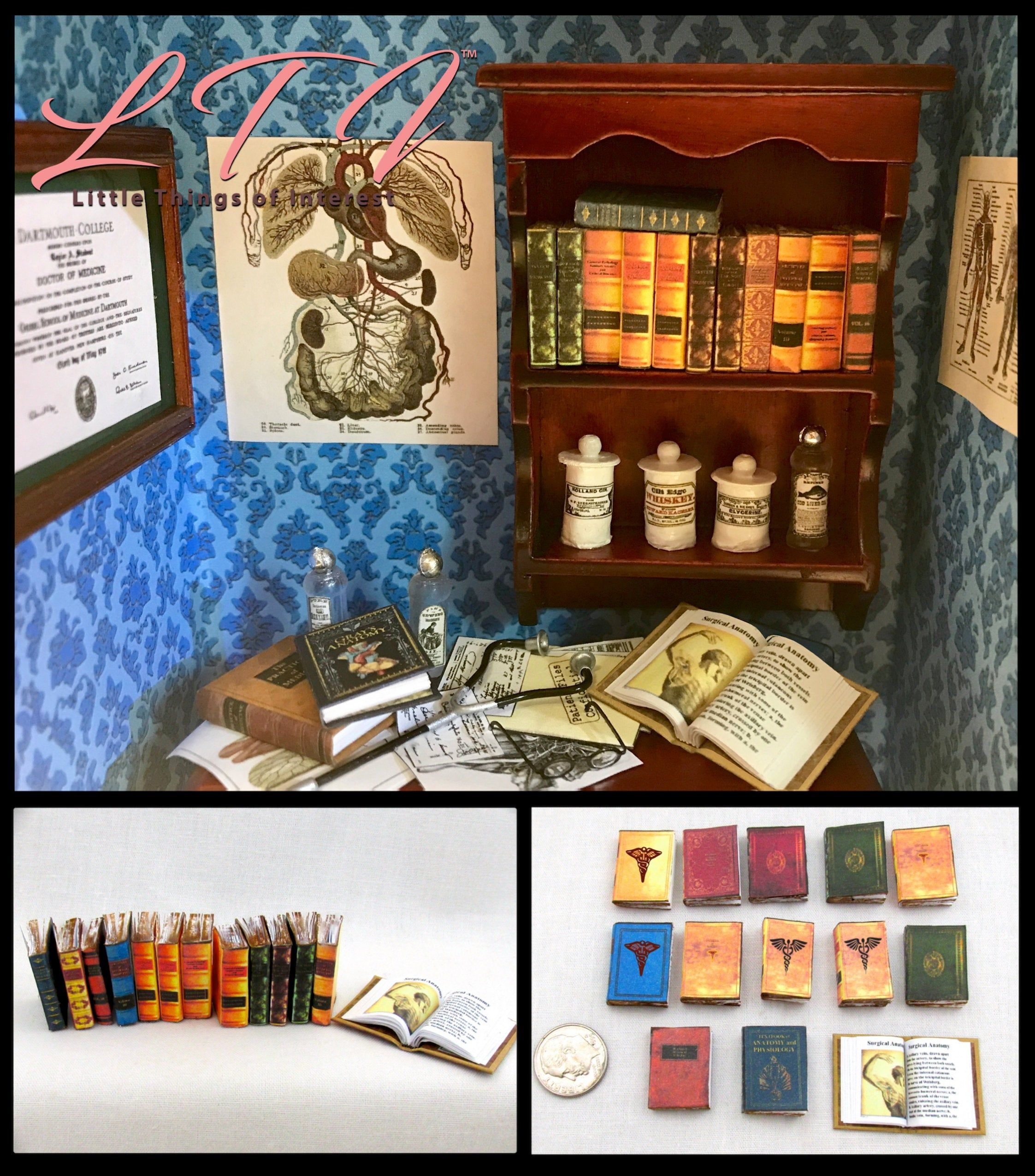 14 MEDICAL BOOKS 1 Open Book Medical Book & 13 Antique ...