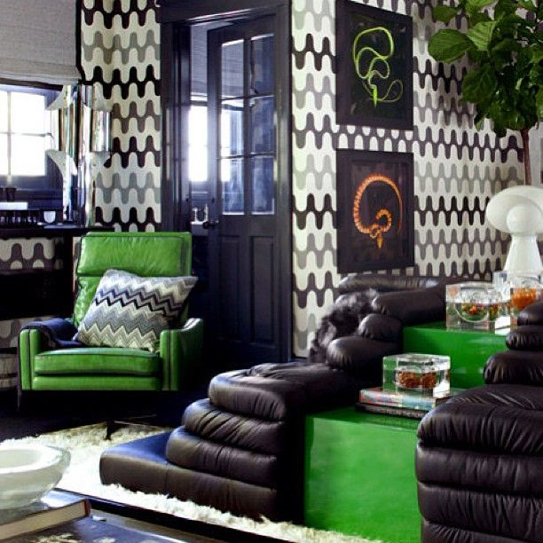 Black White Grey And Green Boys Bedroom