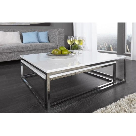 Nest Of Two Tables White High Gloss Coffee Tables