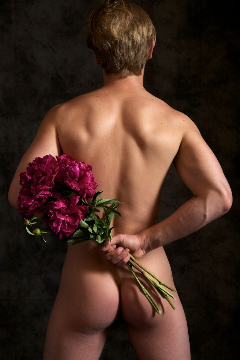 Porn photo naked man flowers