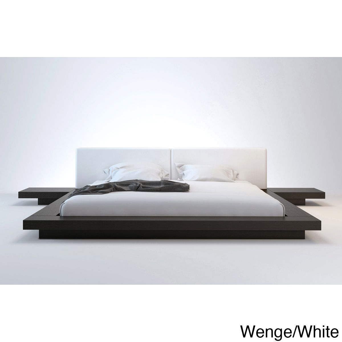 Full Size Platform Bed with Attached Nightstands http://www ...