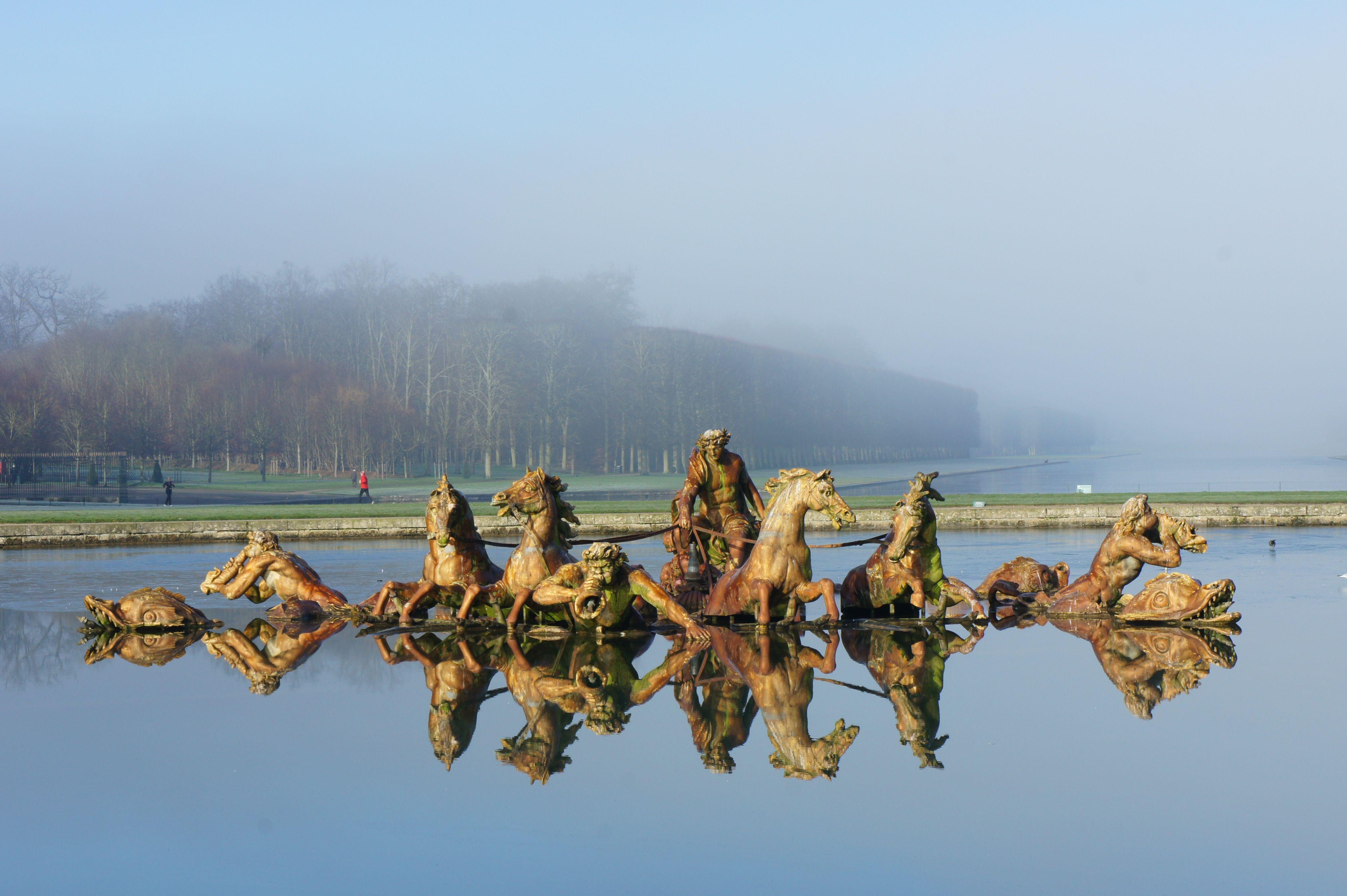 Garden of Versailles on a misty morning.