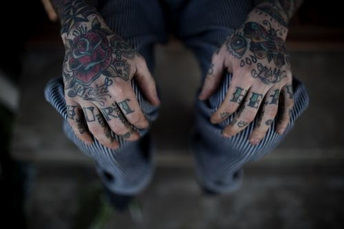 Knuckle tattoos HURT HEAL | color outside the lines | Hand