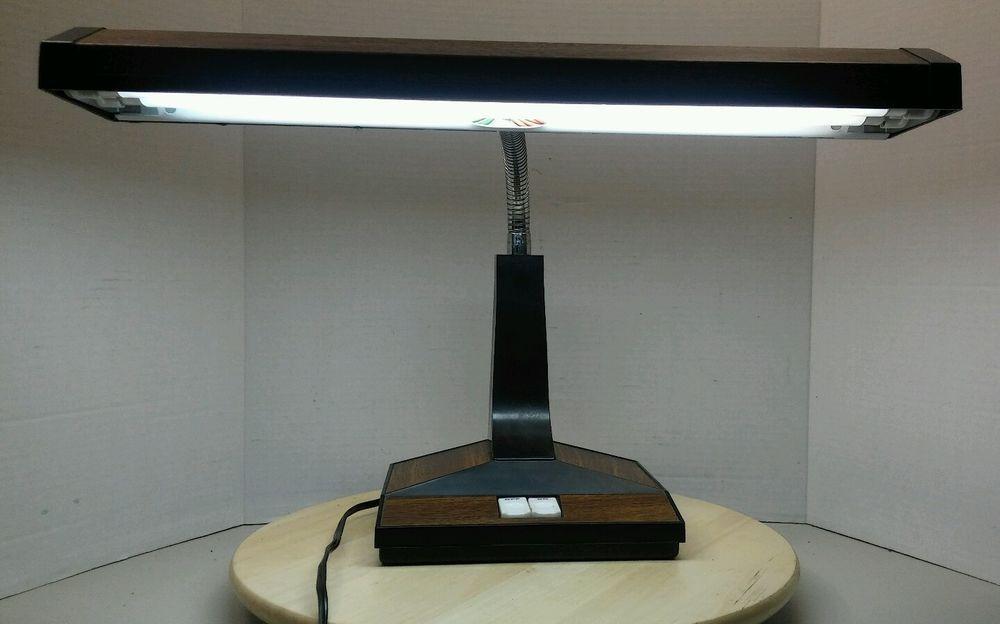 Vintage Gooseneck Desk Lamp Faux Wood Grain Office Student Desk Lamp Lamp Faux Wood