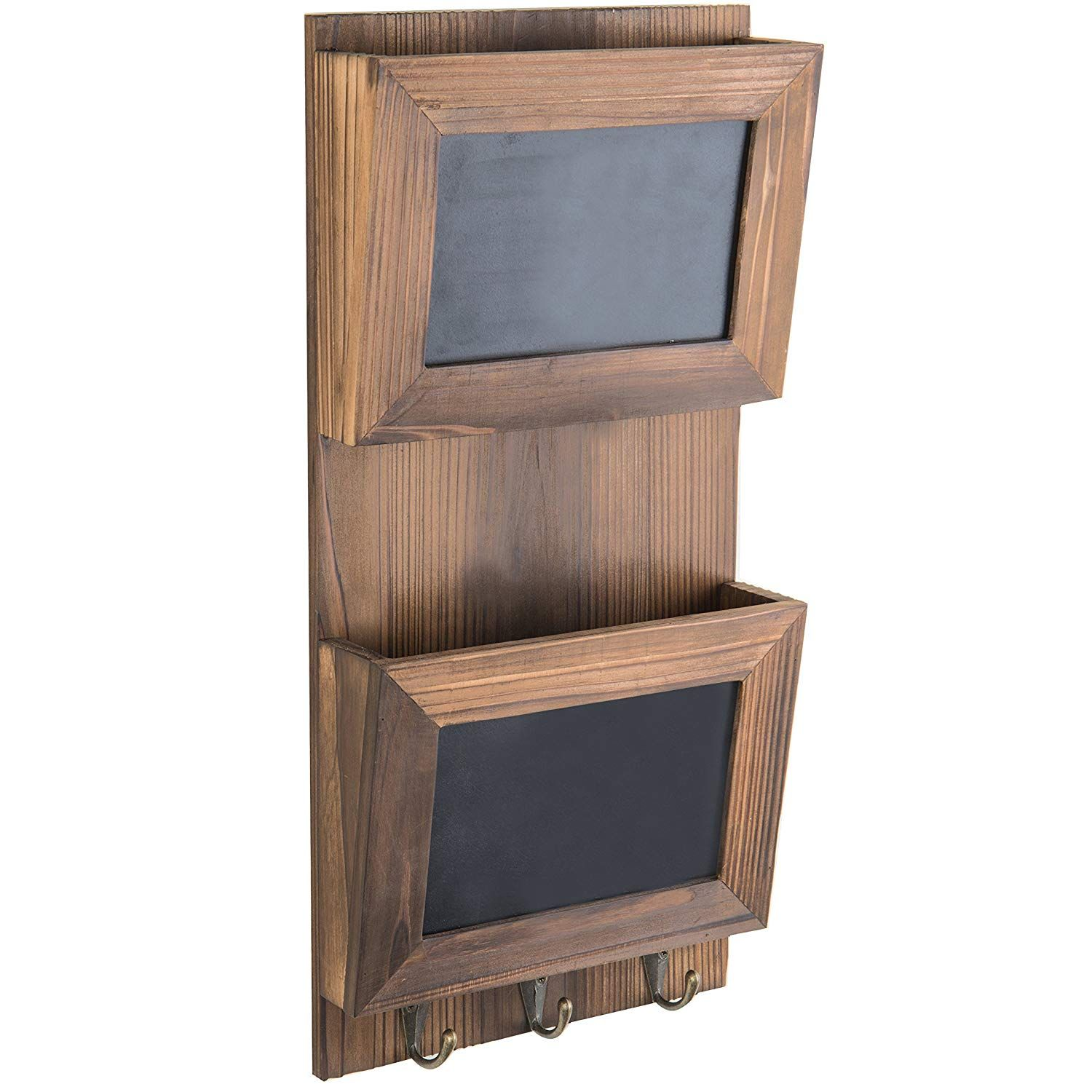 MyGift WallMounted Wood Mail Sorter with