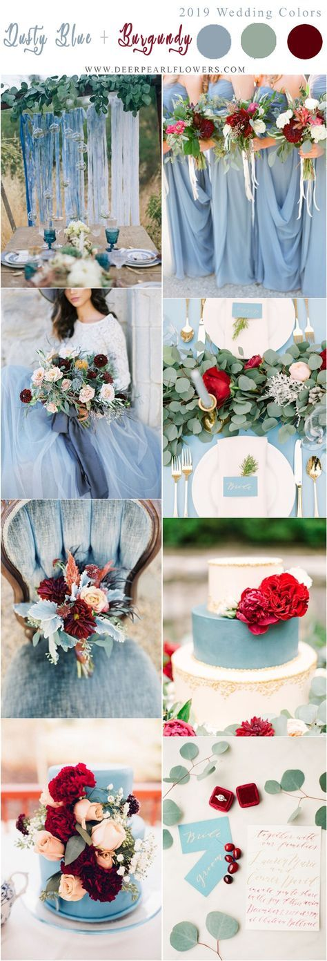 Wedding Colors Winter Burgundy Dusty Blue Ideas For 2019