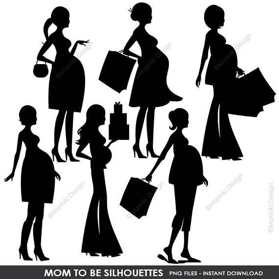 Mom To Be Silhouettes Clipart Pregnant Woman Shopping Digital Clip
