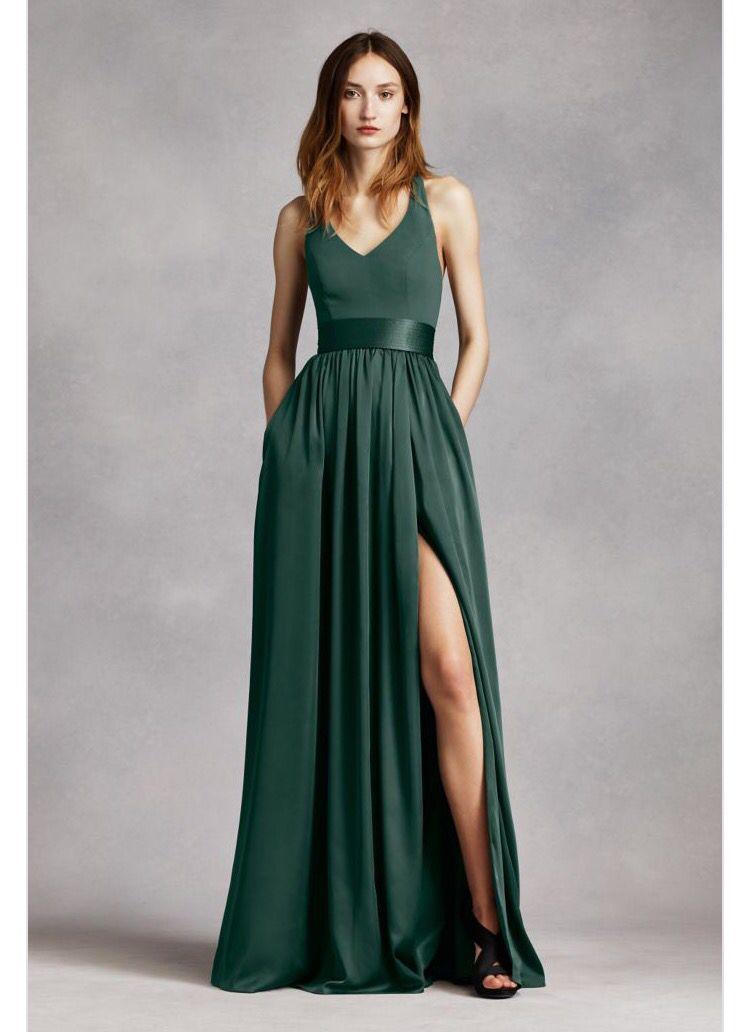 dc8ed48e3bd Vera Wang Bridesmaid Forest Green More. V Neck Halter Gown ...