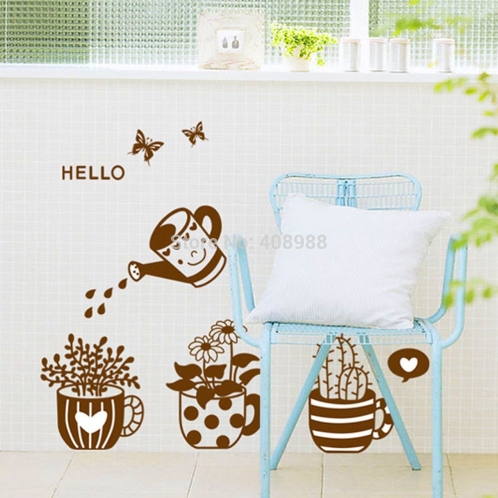 Find More Wall Stickers Information about Stickers Potted Bedroom Study Decorative Stickers,High Quality Wall Stickers from LT Milliongadgets Shop on Aliexpress.com