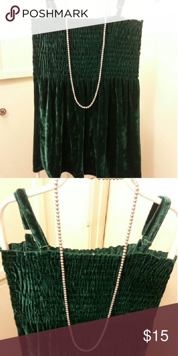 Emerald green velour long tank top. Emerald green long tank top. Shirred and stretchy empire-esque bust area. Bottom a bit fuller , hits below hips..too short to be a dress in my opinion.  Straps are adjustable.  Never worn. Very pretty for fall ! just love Tops Tank Tops