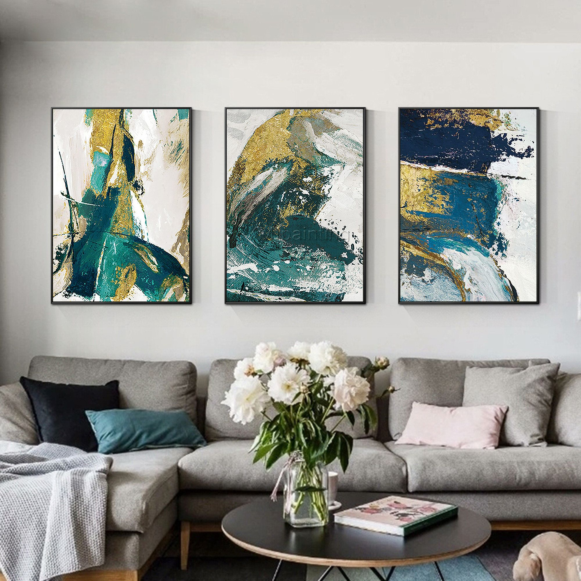 Set Of 3 Wall Art Framed Painting Gold Emerald Green Blue Etsy In 2020 Teal Wall Art Teal Art Canvas Gallery Wall
