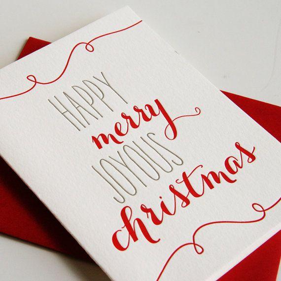 Letterpress Holiday Card Letterpress Christmas Cards - Joyous