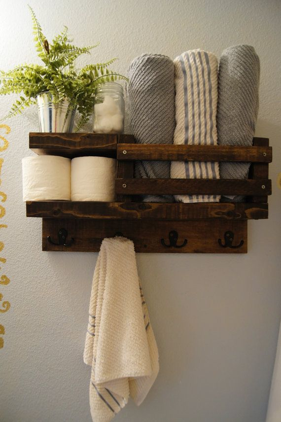 Bath Towel Shelf Bathroom Wood Rack Rod Hanger Rustic Storage Floating Modern