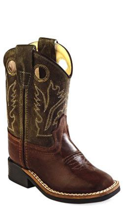 online retailer 251bf 5d561 Old West Brown Toddler Boys Broad Square Toe Cowboy Western Boots