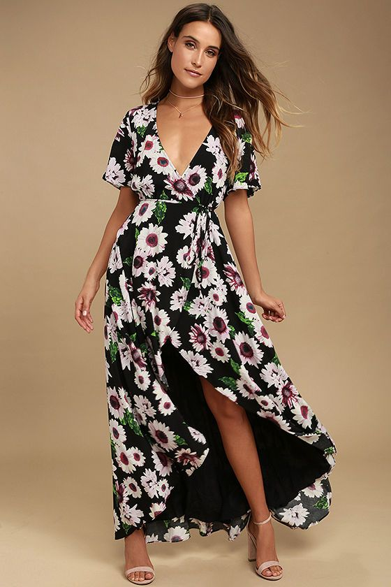 5505aa8b017a You'll have the freshest style in the Flower Market Black Floral Print High-Low  Wrap Dress! Pink, white, and green floral print blooms across this stunning  ...
