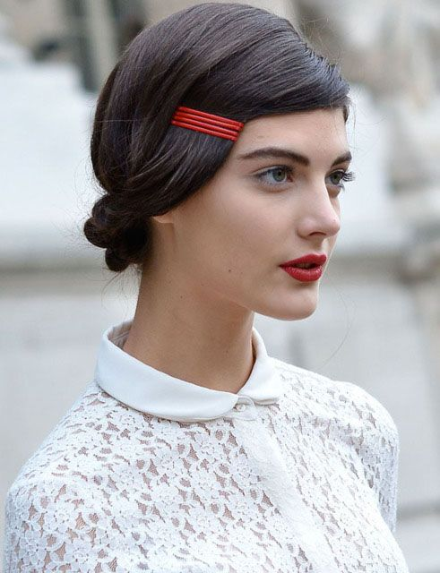 Matching red lipstick and bobby pins
