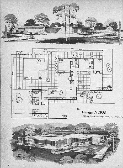Home Planners Design N1958 Modern Floor Plans Mid Century Modern House Plans Mid Century Modern House