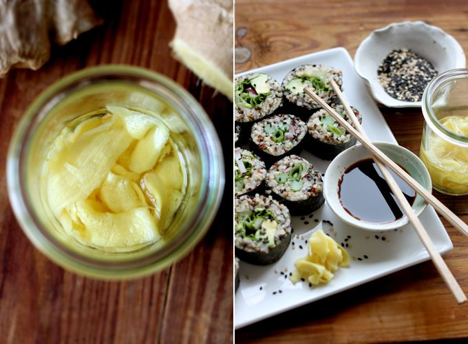 Quinoa Spring Sushi + DIY Quick-Pickled Ginger  So good!  And the ginger is super easy and way healthier than the died, preserved, chemical concoction you get at the store.
