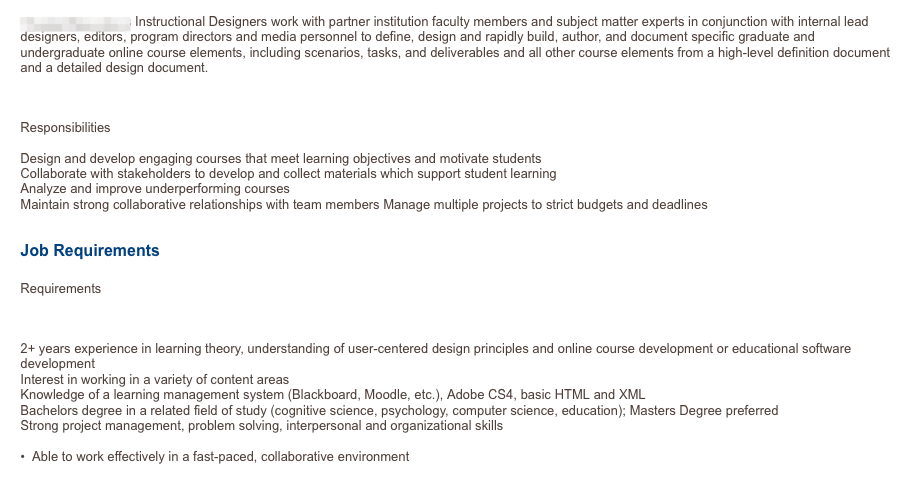 Screenshot Of A Current Instructional Designer Interactive Job Ad My Goal Is To Track Requirements Posted By Empl Instructional Design Learning Theory Job Ads