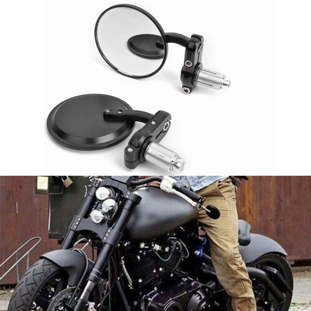 """7//8/""""/&1/"""" Motorcycle Handle Bar End Side Rearview Mirrors 3/""""Black Mirror Universal"""