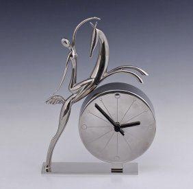 Hagenauer silvered art deco clock