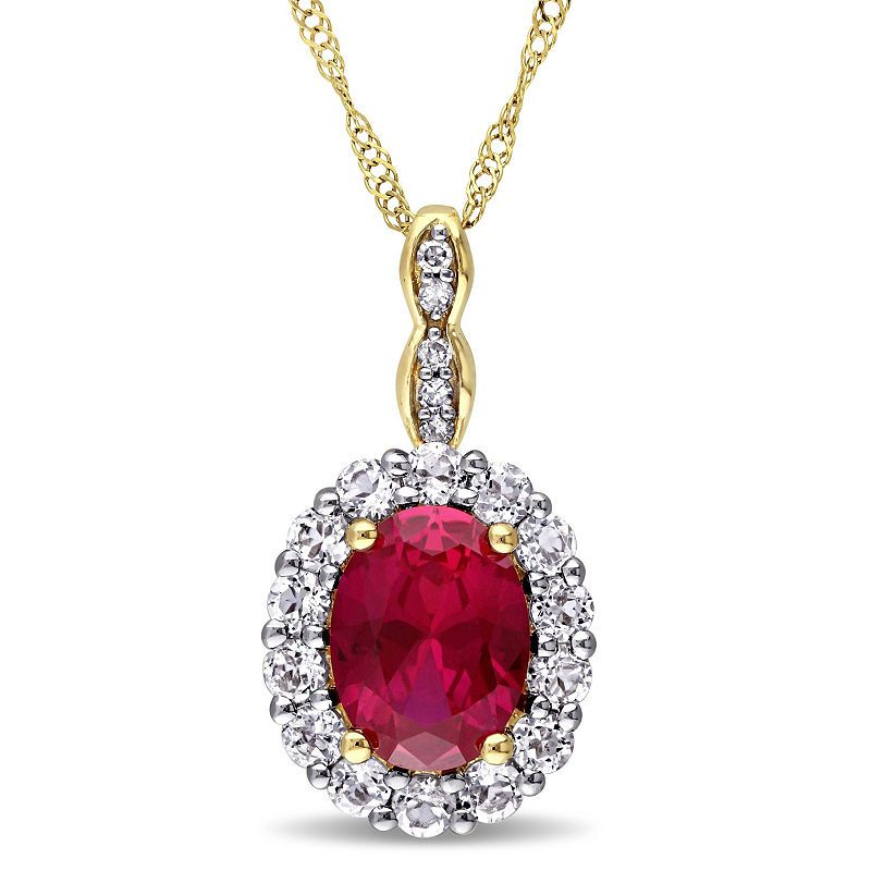 2befbfde379cf Womens Lab-Created Red Ruby and Diamond Accent Pendant Necklace in ...
