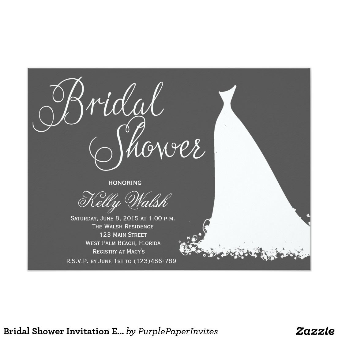 Bridal Shower Invitation Elegant Wedding Dress | Elegant wedding ...