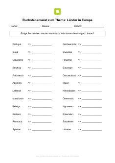 Arbeitsblatt: Buchstabensalat zum Thema: Länder in Europa ...