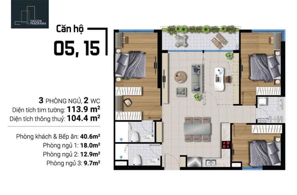 Can hộ 3 Phòng ngủ 2 WC Căn hộ River Panorama