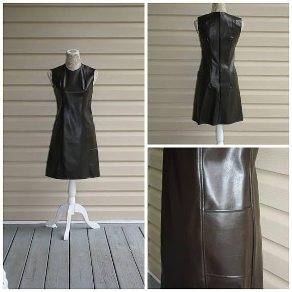 Vintage Mod Mini Dress 1960s Black Leather Sexy Faux Leather  c818e1307