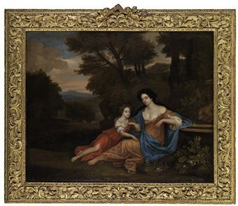 Attributed to Jan Verkolje I (Amsterdam 1650-1693 Delft) Portrait of two ladies, traditionally identified as Mrs. Richard Saltonstale of Chipping Warden, Northamptonshire, and her daughter Ricarda, in a landscape oil on canvas, laid down on board 34½ x 42 1/8 in. (81.9 x 107 cm.) with identifying inscription: 'Mrs Saltinshall and her daughter who was afterwards Countess of Halifax and mother of Lady Lucy Montague 1st wife of Francis 1 Earl of Guilford, & 7th Lord North, and Mother of Fredk…