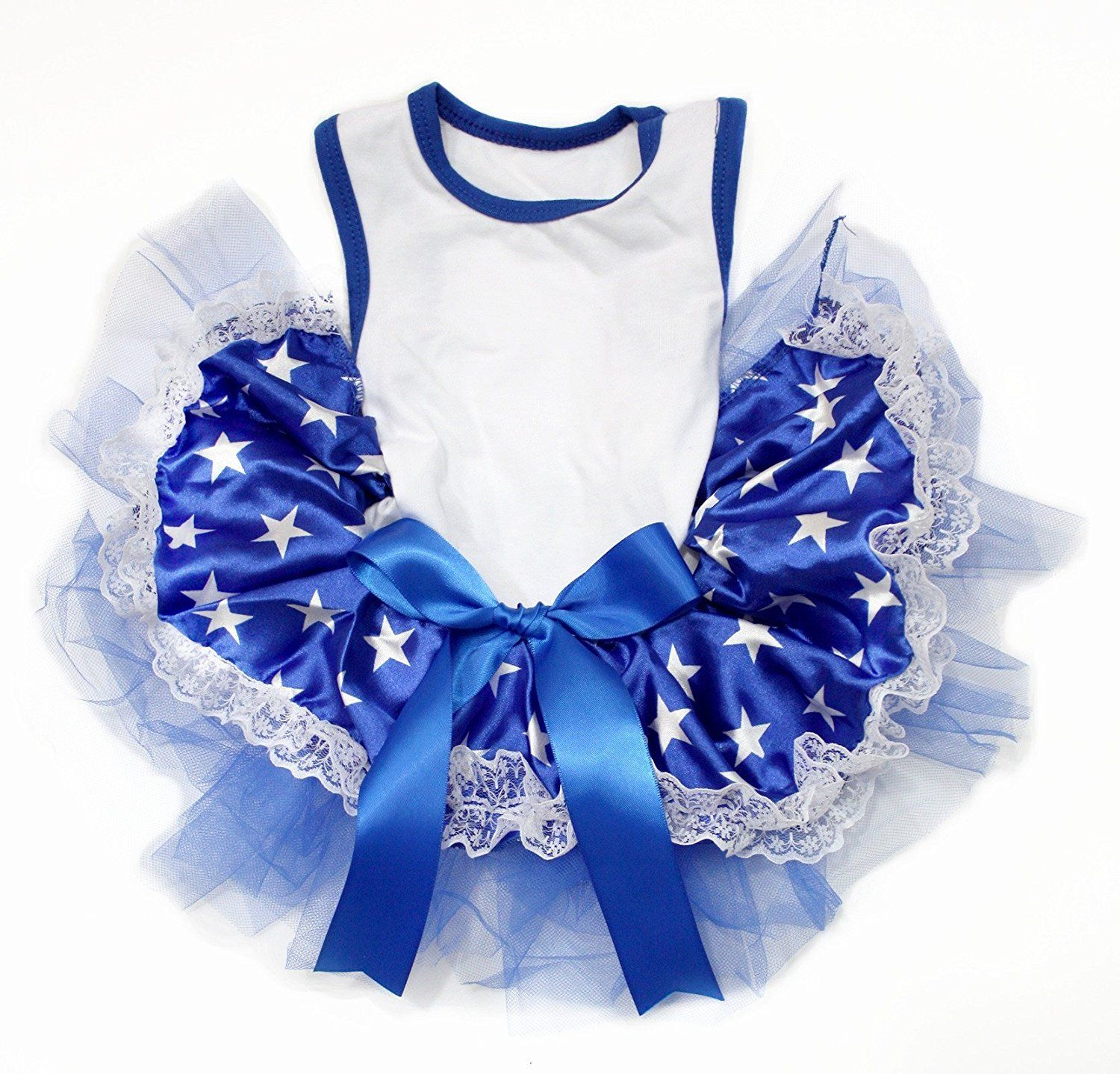 d8778df04 Puppy Clothes Dog Dress Plain White Cotton Shirt Patriotic Stars Blue Lace  Tutu *** Want additional info? Click on the image. (This is an affiliate  link) # ...